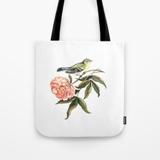 Watercolor illustration with bird and flower Tote Bag