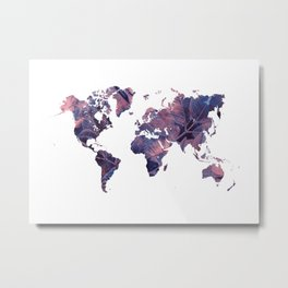 world map 76 purple Metal Print