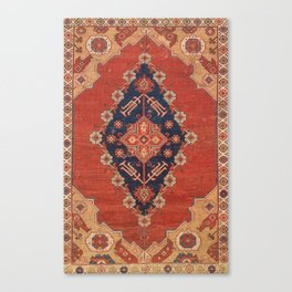 Southwest Tuscan Shapes II // 18th Century Aged Dark Blue Redish Yellow Colorful Ornate Rug Pattern Canvas Print