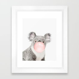 Koala, Bubble gum, Pink, Animal, Nursery, Minimal, Trendy decor, Interior, Wall art Framed Art Print