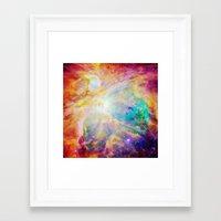 nebula Framed Art Prints featuring nEBula : Colorful Orion Nebula by 2sweet4words Designs