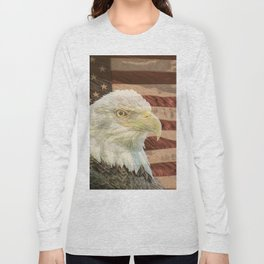 Rustic Bald Eagle on American Flag A213 Long Sleeve T-shirt