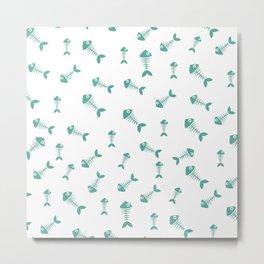 Green blue fishbone pattern Metal Print