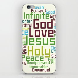 Names and Attributes of Jesus Word Cloud iPhone Skin