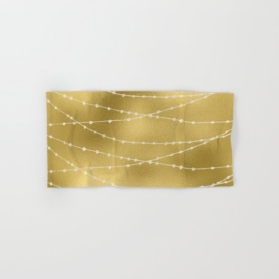 Merry christmas- white winter lights on gold pattern Hand & Bath Towel
