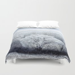 Foggy Winter Landscape with snow covered Trees Duvet Cover