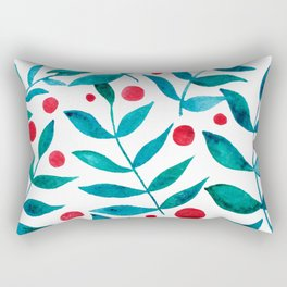 Watercolor berries and branches - turquoise and red Rectangular Pillow
