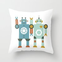 robots Throw Pillows featuring robots by Mr. Morris can Meow!
