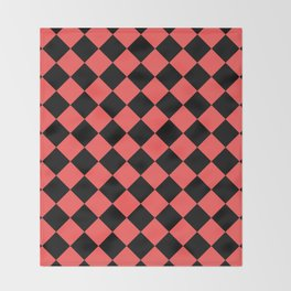 Rhombus (Black & Red Pattern) Throw Blanket