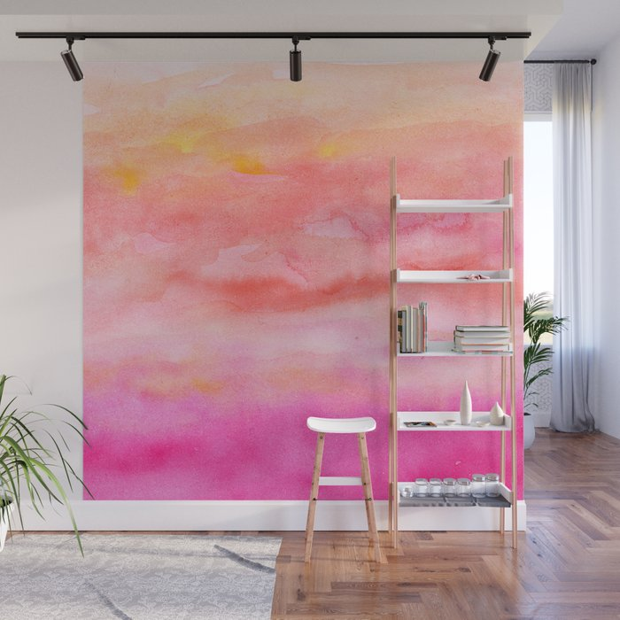 Bright Pink Orange Sunset Watercolor Hand Painted Wall Mural