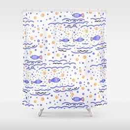 Little Blue Fish in the Sea , Waves and Water with Tiny School of Fishes Pattern Shower Curtain