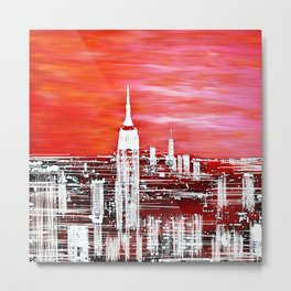 Abstract Red In The City Design Metal Print