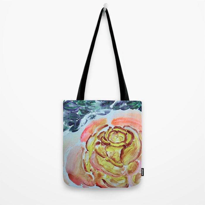 Yellow Greenery Rose Floral Tote Bag