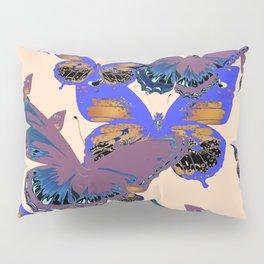 BLUE-PUCE PURPLE  BUTTERFLIES  CREAM COLOR ART Pillow Sham