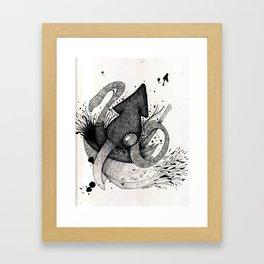 Squid & Ship Framed Art Print