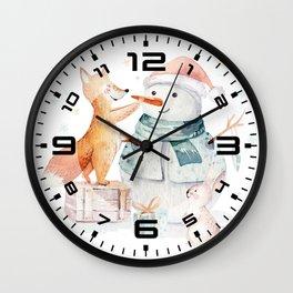 Cute fox 2 Wall Clock
