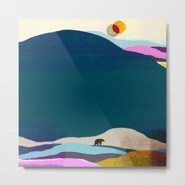 Bear and Two Moons Metal Print