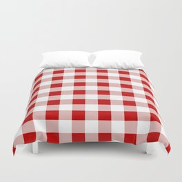 Red and White Check Duvet Cover