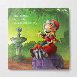 """Little Miss Muffet"" Page Sample 1 (Mother Goose Retold, Trumble Book) Metal Print"