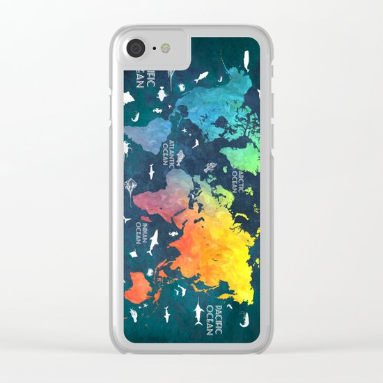 Ocean World Map color Clear iPhone Case