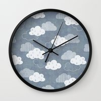 clouds Wall Clocks featuring RAIN CLOUDS by Daisy Beatrice