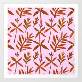 Orange Brown Watercolor Autumn Leaves Pattern Art Print