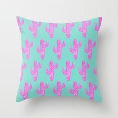 Linocut Cacti Blink Throw Pillow
