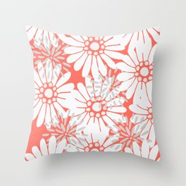 Summer Flowers Living Coral Throw Pillow