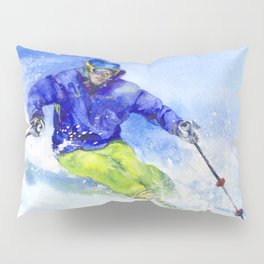 Watercolor skier, skiing illustration Pillow Sham
