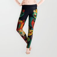 geometric Leggings featuring Wild Flowers by Picomodi