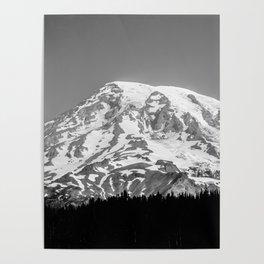 Mount Rainier Black and White Poster
