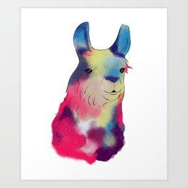 Cute & Adorable Space Galactic Artsy Llama Art Print