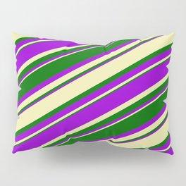 Pale Goldenrod, Dark Green & Dark Violet Colored Lined Pattern Pillow Sham