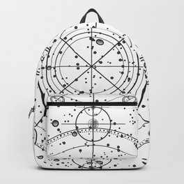 Science fiction style sacred geometry circle with celestial map Backpack