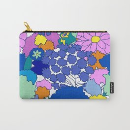 Far-Out 60's Floral in White Carry-All Pouch