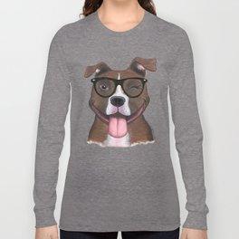 Hipster Pit Bull Long Sleeve T-shirt
