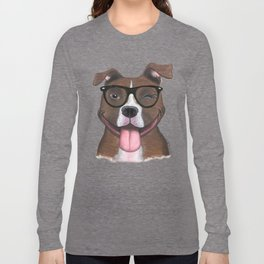 Hipster Pit Bull Long Sleeve T-shirt