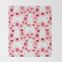 Samoyed valentines day dog portrait cute puppy dogs hearts love valentine for dog person Throw Blanket