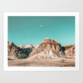 Vintage Red Rocks Moon // Mountain Range Snowcaps in Winter Desert Landscape Photograph Luna Sky Art Print