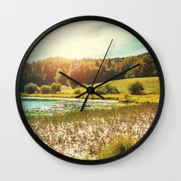 Wonderful small altitude french Genin lake in middle of wild pine forest in summer in Jura mountains Wall Clock