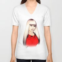 barbie V-neck T-shirts featuring American Barbie by Tiko Meow
