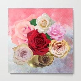 Rose Garden - Floral Spring Summer Roses Design Metal Print