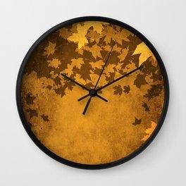 Leaves Falling Darkly Wall Clock