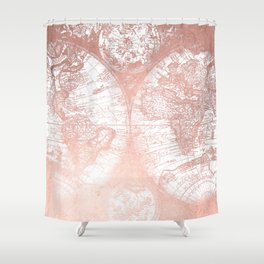 Rose Gold Pink Antique World Map by Nature Magick Shower Curtain