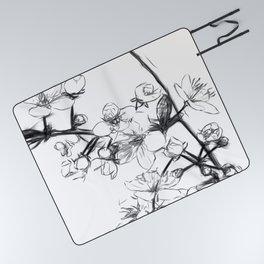 Cherry Blossoms Minimal Drawing Picnic Blanket