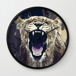 african lioness safari cat v2 vector art foggy night Wall Clock