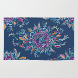 Deep Summer - Watercolor Floral Medallion Rug
