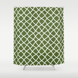 Olive green and white curved grid pattern Shower Curtain