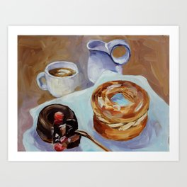 Desert, french breakfast, bonbon, coffee, sweet, food Art Print
