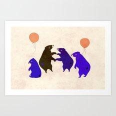 A sleepy bear party Art Print